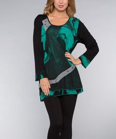 Another great find on #zulily! Jade & Black Ruffle Tunic - Women by Dalin #zulilyfinds