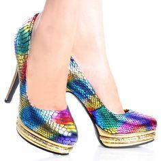Gold-Snake Metallic Rainbow Multicolor Womens High Heel Platform Shoes