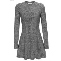 ANGVNS Gray Women Long Sleeve Slim Knit Sweater Mini Elastic Casual Dresses