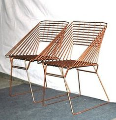vintage Eames-era metal chairs - geometric square iron 1950s-60s mid century patio chairs.   http://www.etsy.com/people/TheGreenRoomFondren