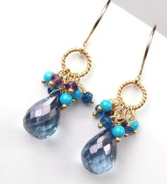 Blue Gemstone Earrings London Blue Quartz Earrings Cluster Gold Wire Wrapped Multicolor Petite