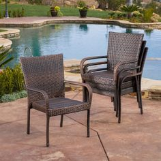 Christopher Knight Home Outdoor PE Wicker Stackable Arm Club Chairs (Set of 4)   Overstock.com Shopping - The Best Deals on Dining Chairs