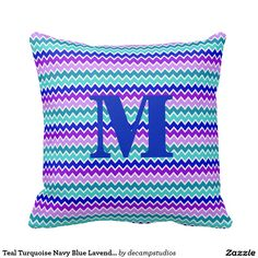 Teal Turquoise Navy Blue Lavender Purple Chevron Pillow