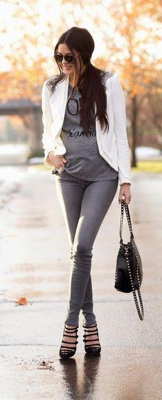 Embellished Shoulder Blazer  + Graphic Tee +  Grey Skinny Jeans