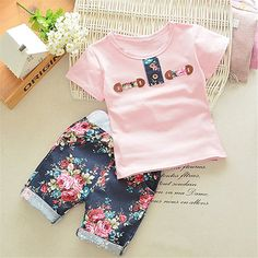 Amazon.com: FTSUCQ Little Girls/Boys Floral Printed Shirt Top with Shorts, Two-pieces Sets: Clothing