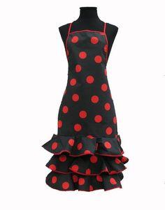 Delantal-de-Flamenca-Negro-Lunar-Rojo
