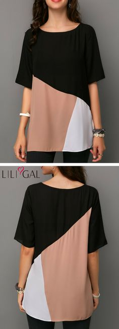 Round Neck Color Block Half Sleeve T Shirt   #liligal #top #blouse #shirts #tshirt