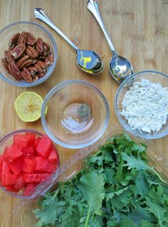 Fresh ingredients for a Kale & Watermelon Salad- gluten free!