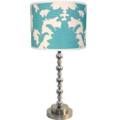 Table lamp with aqua drum shade