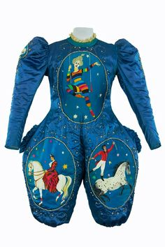 "A repin of a circus outfit in teal blue, with horse appliques, from ""tout ceci est magnifique"""