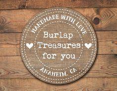 burlap logo hearts, premade logo rustic shabby chic  for artisan products handmade homemade