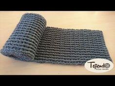 Bufanda a ganchillo ( Unisex ) - YouTube Tunisian Crochet, Crochet Granny, Crochet Shawl, Crochet Baby, Crochet Winter, Knitting Videos, Crochet Scarves, Chokers, Embroidery