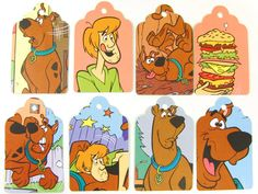 "ooak 8 large 3.5"" scooby doo hang tags"