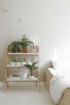 Schlafzimmer Regal, dekoriert mit grünen Topfpflanzen