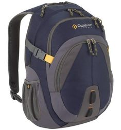 Outdoor Products Bam Daypack, Dark Blue. Two spacious compartments offer plenty of packing space for your day's adventure. Padded back panel with moisture-wicking mesh promotes cooling airflow. Roomy main compartment with padded laptop carrier. Front pocket organizer contains the small stuff, a lanyard secures your keys and dual stretch-woven pockets carry water bottles. Zippered microfleece-lined top pocket holds your audio device or sunglasses.