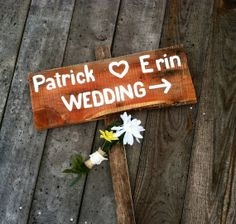 Rustic wedding directional sign with names and by SawmillCreations, $24.00