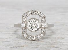 0.75 Carat Art Deco Diamond Engagement Ring
