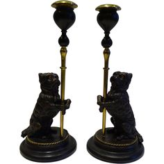 Pair Antique French Figural Candlesticks - Bronze Dogs With Glass Eyes c.1870