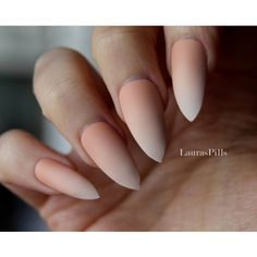 Gradient french stiletto false nails! Matte or glossy Nude Beige... ($19) ❤ liked on Polyvore featuring beauty products, nail care, nail treatments and nails