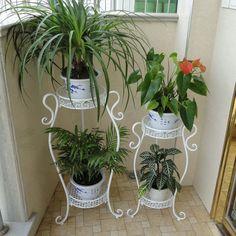 Especial macetas de flores de hierro estante piso sala de estar balcón macetas, f