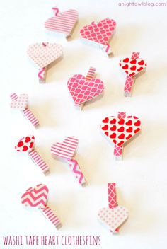 Washi Tape Heart Clothespins