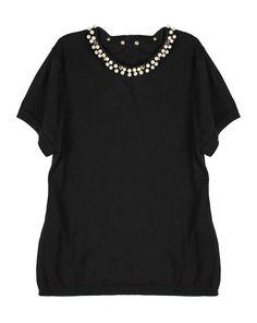 Arletta Top in Black by Kate Sylvester, black knit top Black Knit, Shirt Dress, T Shirt, Black And White, Knitting, Summer, Tops, Dresses, Women