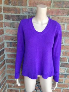 EILEEN FISHER Yak Wool Sweater Size XS S Women V Neck Ribbed Long Sleeve Purple #EileenFisher #VNeck