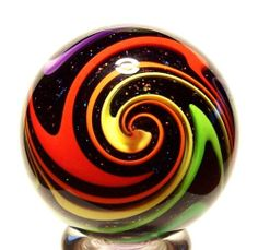 "Eddie Seese Glass 1 3 4"" Black Lutz Rainbow Dichroic Tetrisphere Marble   eBay"