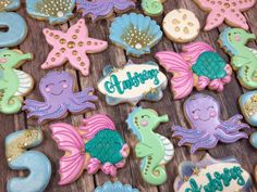 Under The Sea Sugar Cookies-Seahorse, Octopus, Fish, Sand Dollar, Shells TheIcedSugarCookie.com Created by Whoos Bakery  Check out these adorable Under The Se