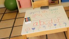 Forget paper.  Let the kids write right on the table!  With a bit of Rust-Oleum® Dry Erase Paint, you can turn a kids table, a wall and more into a dry erase surface.  #ProjectsMadeSimple