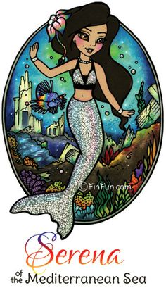 Royal Mermaid Princess, Serena. Read her stories, get coloring pages and win a real mermaid tail you can swim in at FinFriends.com