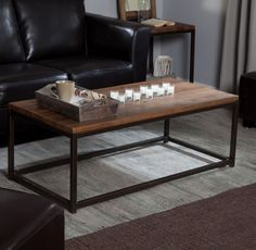This handsome rustic industrial style coffee table is constructed of durable fir wood, this table gets its rustic, weathered look from a thorough, multi-step finishing process that results in a rich,