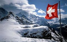 swiss flag - area of alp mannlichen - region of bernese highland - swiss alpes - canton of berne - switzerland
