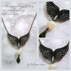 Pendentif en metal bronze, chaine maille, perle et breloque. : Pendentif par fabienne-botte