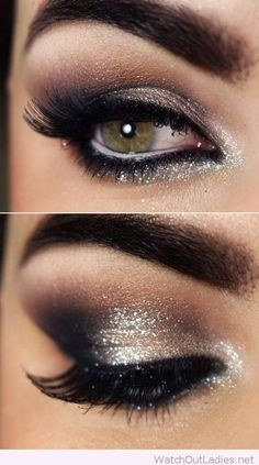 Glitter eye makeup for Christmas