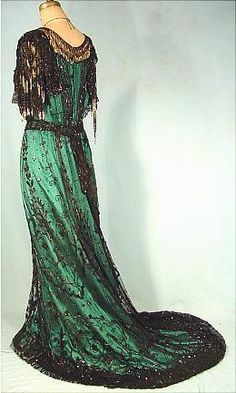 Green Silk Satin and Black Beaded Net Evening Gown