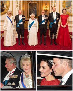 Her Majesty the Queen, Prince Phillip, Prince Charles, the Duchess of Cornwall and the Duke and Duchess of Cambridge were all in attendance at this evening's Diplomatic Reception. The white tie reception is the biggest social event of the year at Buckingham Palace with over 1,000 guests from 130 countries. The Queen and senior members of the royal family posed for an unprecedented photo at the event which is normally shrouded in secrecy. The Queen and Duchess of Cornwall are both wearing…