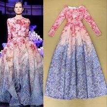 Alta qualidade novo 2015 Maxi Dress mulheres manga comprida doce Floral impresso celebridade festa vestido de baile vestido longo(China (Mainland))