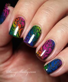 Rainbow Nails! Gradient stammping with Bundle Monster over a Badass black base | Sassy Shelly #nails #nailart