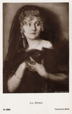 https://flic.kr/p/v5USEk | Lu Synd | German postcard by Photochemie, Berlin, no. K. 1581, 1919-1924. Photo: Alex Binder, Berlin.  German actress Lu Synd (1886-1978) was mainly a stage actress but in the late 1910s she also acted in several German silent films of which she produced many herself.  For more postcards, a bio and clips check out our blog European Film Star Postcards or follow us at Tumblr or Pinterest.