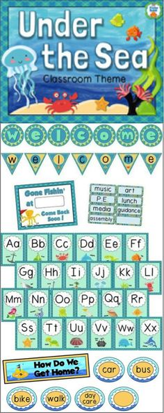 Ocean Theme Classroom Decor Bundle Big classroom theme pack - Under The Sea - 129 pages New Classroom, Classroom Design, Classroom Displays, Kindergarten Classroom, Classroom Themes, Classroom Organization, Ocean Themed Classroom, Ideas Para Organizar, Beginning Of The School Year