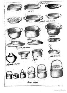 16th C Kitchen Utensils: Italy; from Opera di M. Bartolomeo Scappi: cuoco secreto de Papa Pio V (1570)