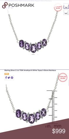 Coming Dec 27. Genuine Sterling Silver 2.1 ct. TGW Amethyst & White Topaz 5 Stone Necklace. Gorgeous!  Brand new! Jewelry Necklaces