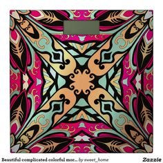 Beautiful complicated colorful moroccan ornament. bathroom scale make interior unique and add aesthetics sense. Ornament create in oriental tradition. #Home #decor #Room #Interior #decorating #Idea #Styles
