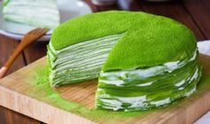"Today's recipe ""How To Make Matcha Crepe Cake"" it easy to do at home . The sweetness cream mixture and little bitter of Matcha make it's delicious Green Tea Dessert, Matcha Dessert, Matcha Cake, Food Cakes, Cupcake Cakes, Cake Recipes To Impress, Matcha Tea Benefits, How To Make Matcha, Green Tea Ice Cream"