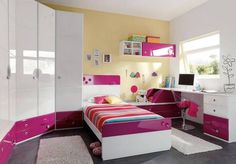 10 Beautiful Girls Bedroom Designs Ideas With Modern Color Home, Girl Bedroom Designs, Bedroom Design, Girls Bedroom, Bedroom Decor, Girl Room, College Bedroom Decor, Interior Design Inspiration Bedroom, Room Decor