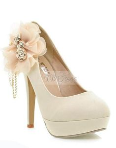 Elegant Stiletto Heels Close Toe Women Prom Shoes With Flower - NDIR Fashion