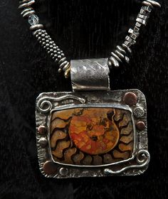 Sterling Silver, Ancient Ammonite, Copper by Allison Bellows