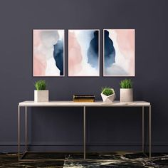 Blush Pink and Navy Abstract Art Gallery Wall Prints Set of