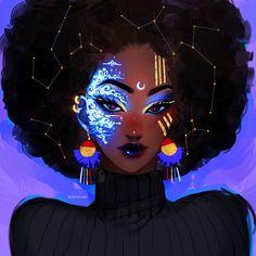 Celestial Art Print by Ozumii_Wizard - X-Small Black Love Art, Black Girl Art, Cartoon Kunst, Cartoon Art, African American Art, African Art, Black Girl Cartoon, Black Art Pictures, Black Artwork